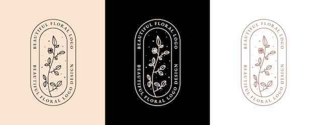 スパサロンのスキン&ヘアケアのための手描きのフェミニンな美しさと花の植物のロゴ Premiumベクター