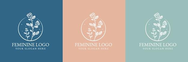 スパサロンのスキン&ヘアケアのための手描きの女性の美しさと花の植物のロゴのテンプレート Premiumベクター