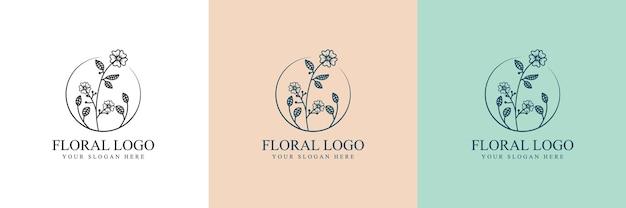手描きのフェミニンな美しさと花の植物のロゴ Premiumベクター
