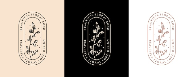 Hand drawn feminine beauty and floral botanical logo for spa salon skin & hair care Premium Vector