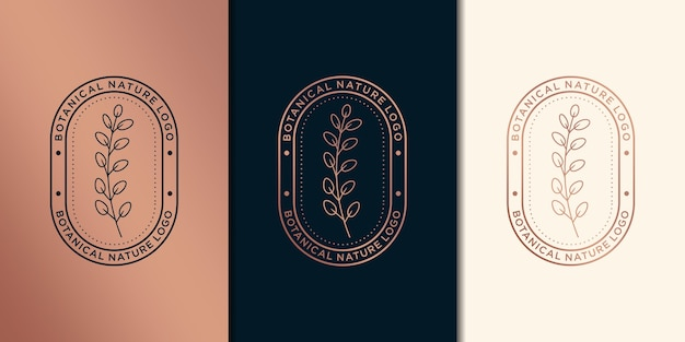 Hand drawn feminine and floral botanical, logo suitable for spa salon, skin hair beauty boutique and cosmetic, company. Premium Vector