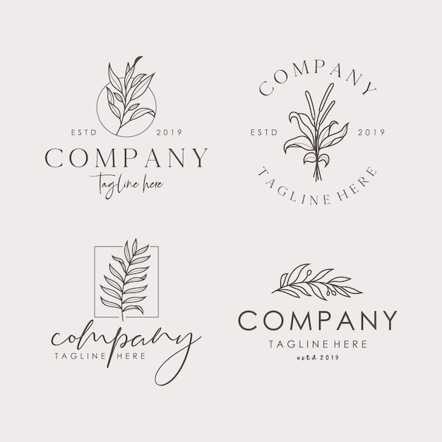 Hand drawn feminine floral vector signs or logo templates set Premium Vector