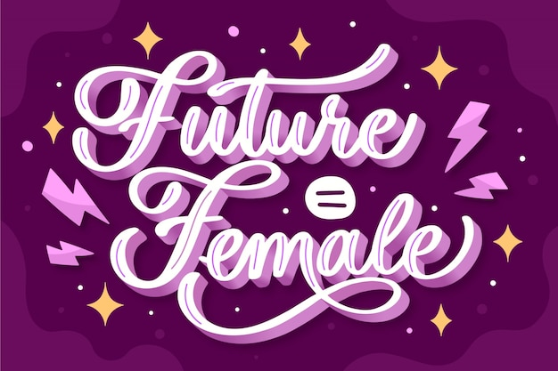 Hand drawn feminist lettering future is female quote Free Vector