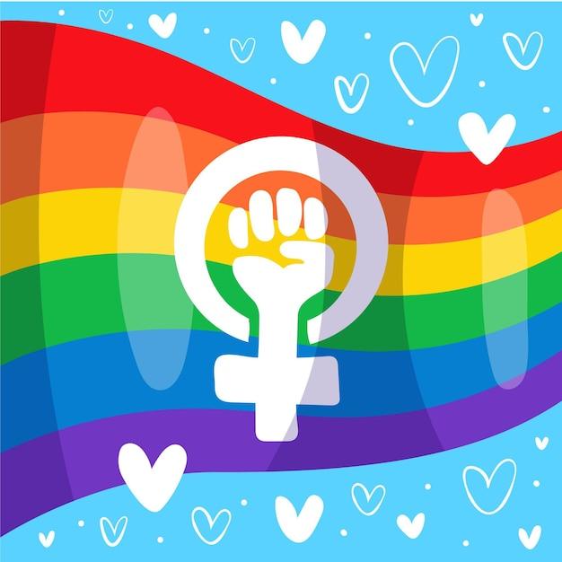 Hand drawn feminist and lgbt flag Premium Vector