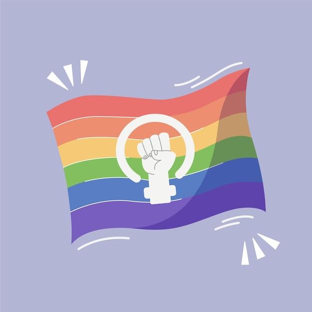 Ручной обращается феминистский флаг лгбт + Бесплатные векторы