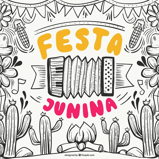 Hand drawn festa junina background with elements Free Vector