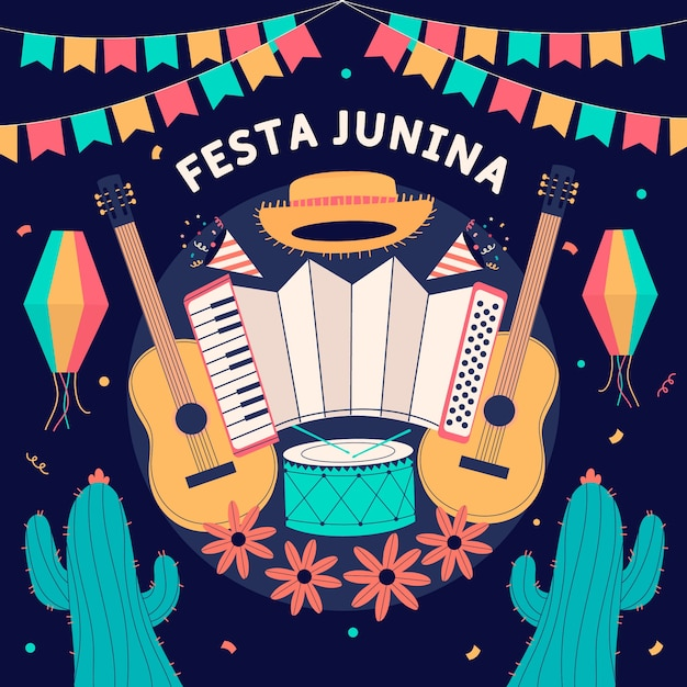 Hand drawn festa junina background with music instruments Free Vector