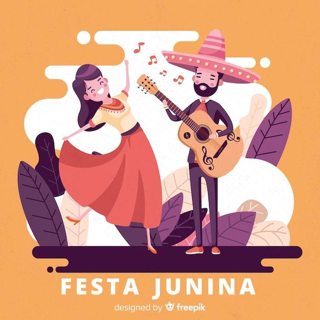Hand drawn festa junina background Free Vector