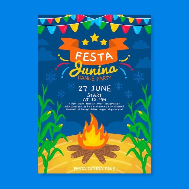 Hand drawn festa junina campfire poster Free Vector