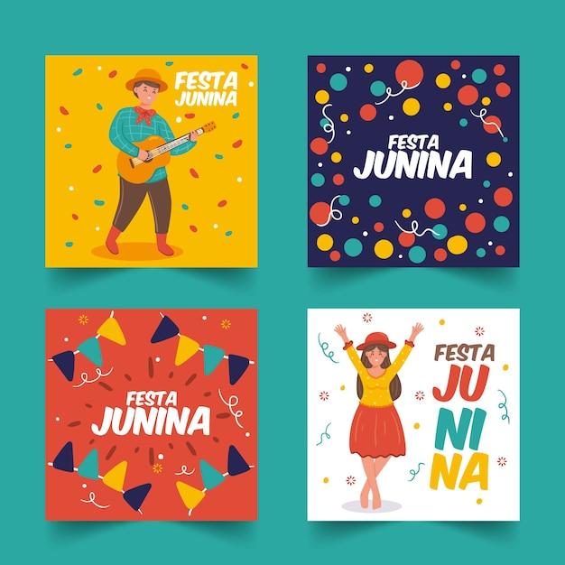 Hand drawn festa junina card collection template Free Vector