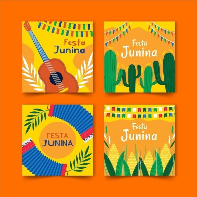 Hand drawn festa junina card collection template Free Vector