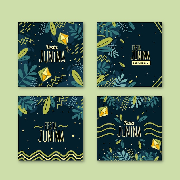Hand drawn festa junina cards collection template Free Vector
