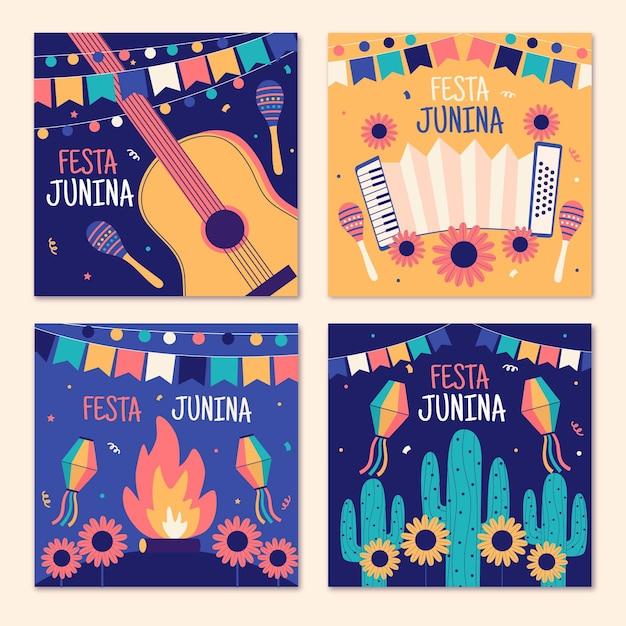 Hand drawn festa junina cards pack template Free Vector