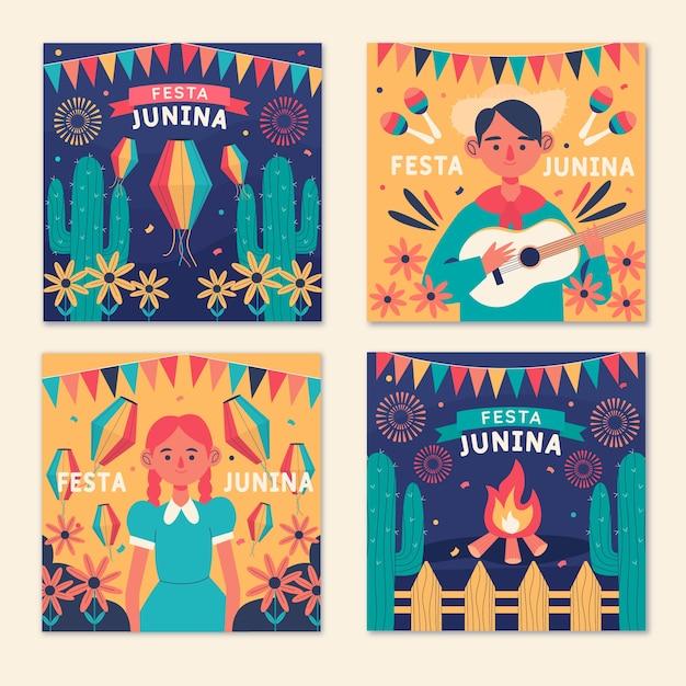 Hand drawn festa junina cards set template Free Vector