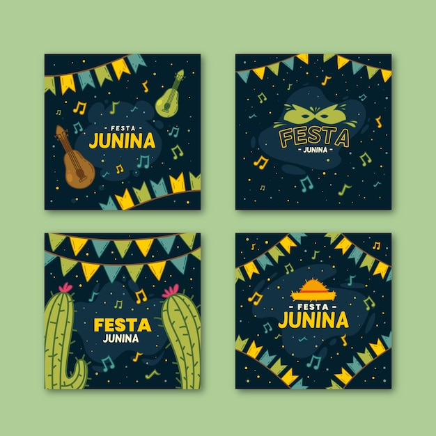 Hand drawn festa junina cards template Free Vector