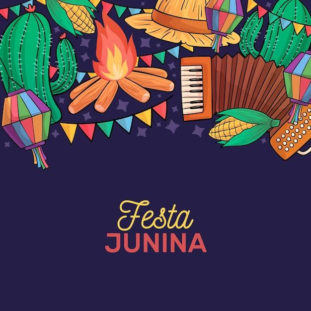 Hand drawn festa junina concept Free Vector