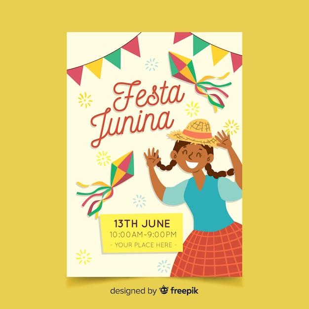 Hand drawn festa junina flyer template Free Vector