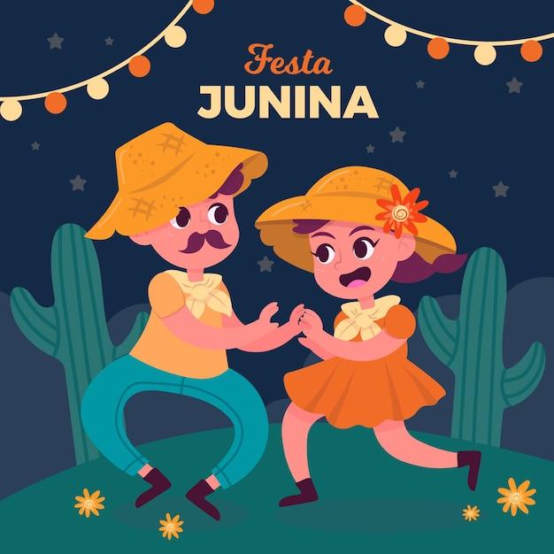 手描きフェスタジュニーナ人一緒に踊る 無料ベクター