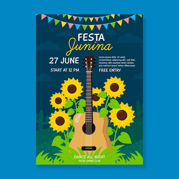 Hand drawn festa junina poster guitar and sunflowers Free Vector