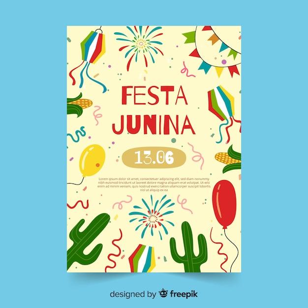 Ручной обращается шаблон феста junina плакат Бесплатные векторы