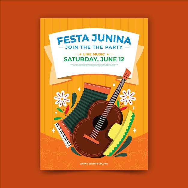Hand drawn festa junina poster template Free Vector
