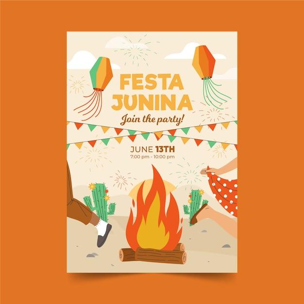 Hand drawn festa junina poster with campfire Free Vector