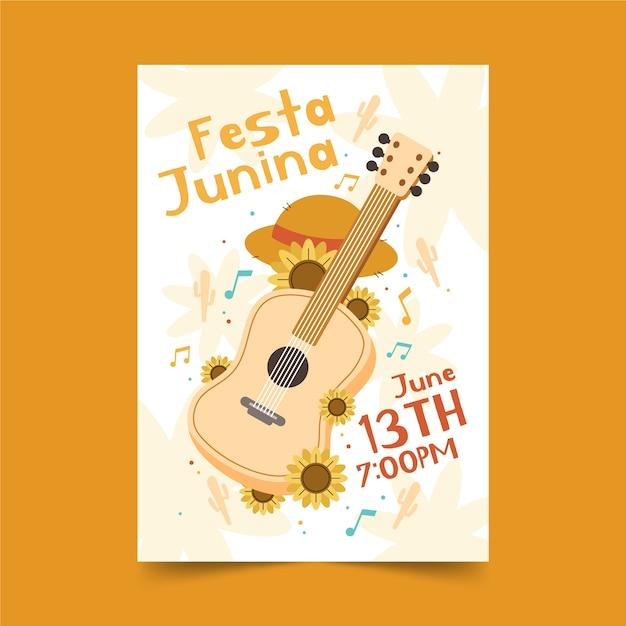 Hand drawn festa junina poster with guitar Free Vector
