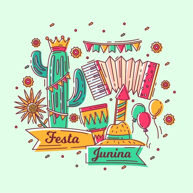 Hand drawn festa junina wallpaper Free Vector