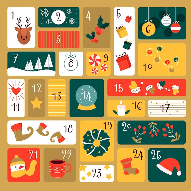 Hand drawn festive advent calendar Free Vector