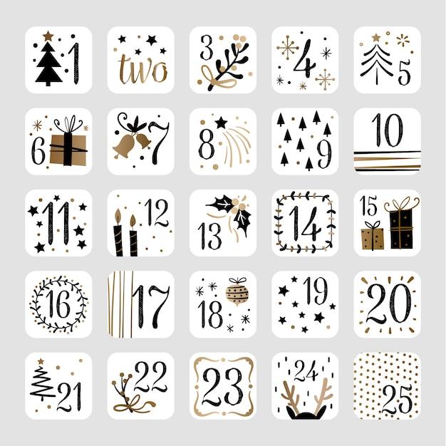 Hand drawn festive advent calendar Premium Vector