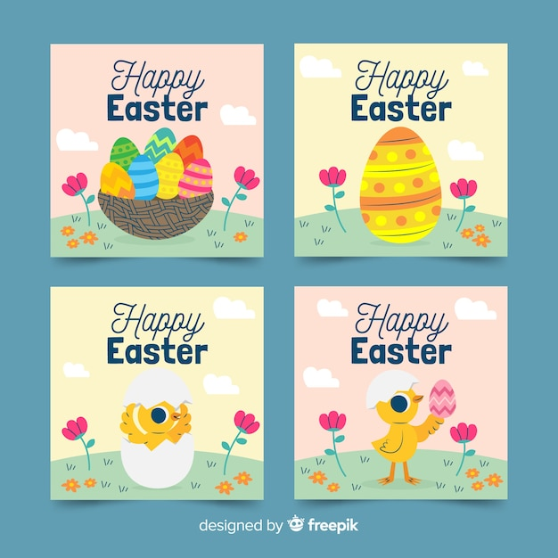 Hand drawn field easter card collection Free Vector
