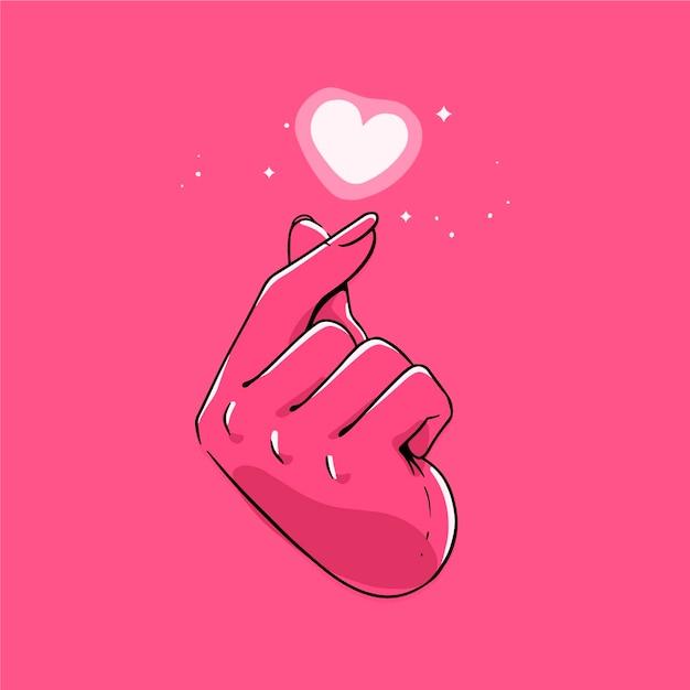 手描きの指の心の概念 無料ベクター