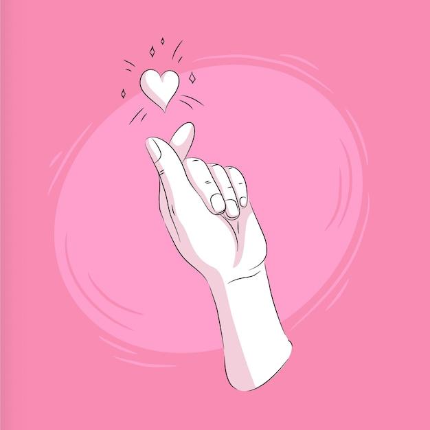 Hand drawn finger heart illustration Free Vector