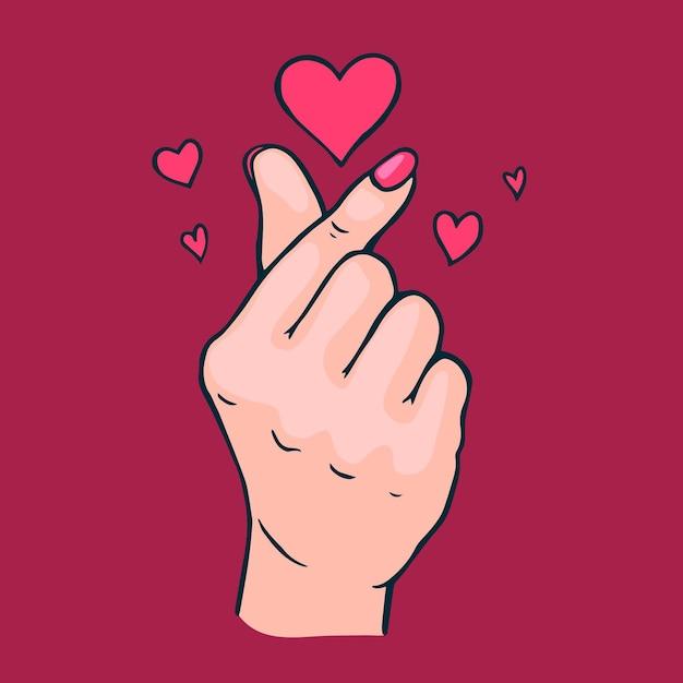 手描きの指の心 無料ベクター