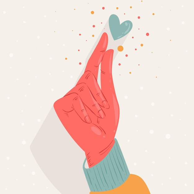Hand drawn finger heart Free Vector