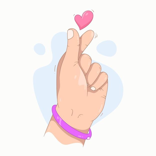 Hand drawn finger heart Free Vector