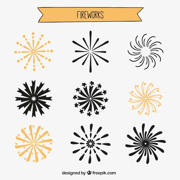 hand drawn fireworks vector free download