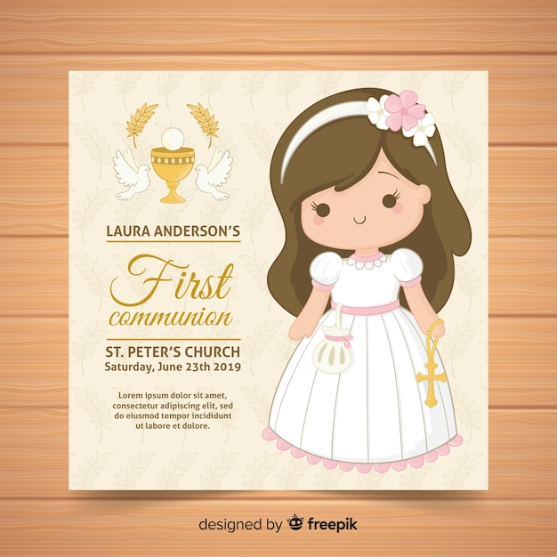 Hand drawn  first communion invitation template Free Vector