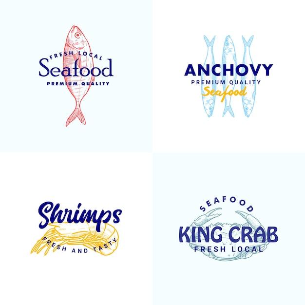 Ручной обращается рыба, анчоусы, шрипмы, краб, иллюстрация, коллекция шаблонов логотипа для бренда морепродуктов Premium векторы