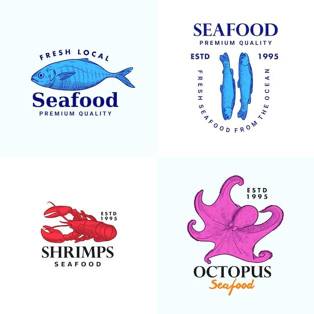 シーフードブランドの手描きの魚アンチョビシュリップスタコロブスターイラストロゴテンプレートコレクション Premiumベクター