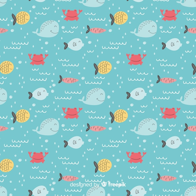 Hand drawn fish doodle pattern Free Vector