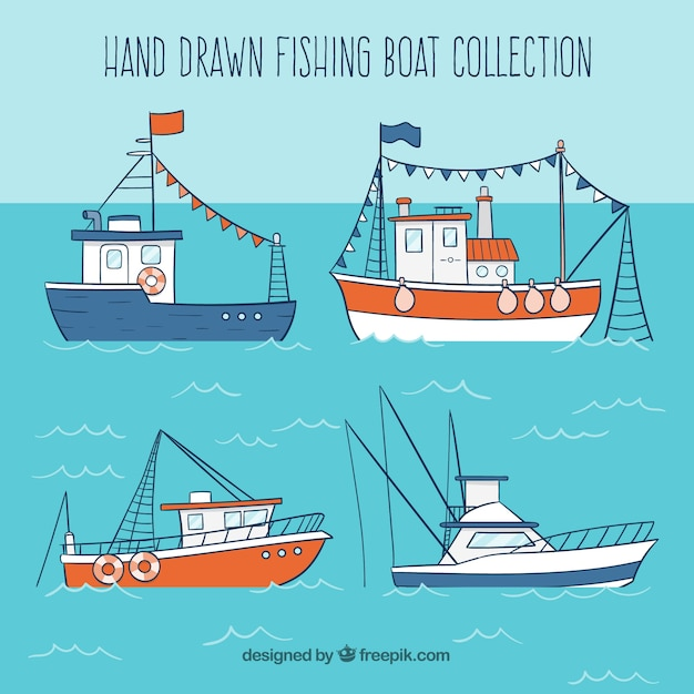 Hand drawn fishing boat collection vector free download for Free fishing boats