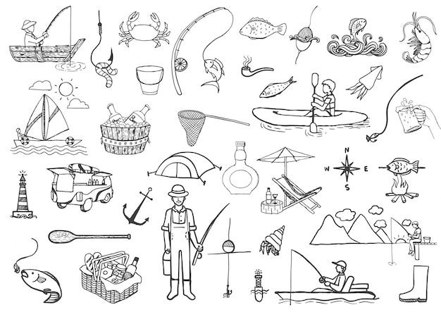 Hand drawn fishing elements Free Vector