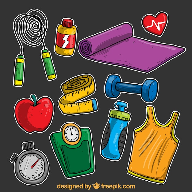Hand drawn fitness elements