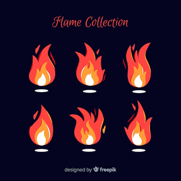 Hand drawn flame collection Free Vector