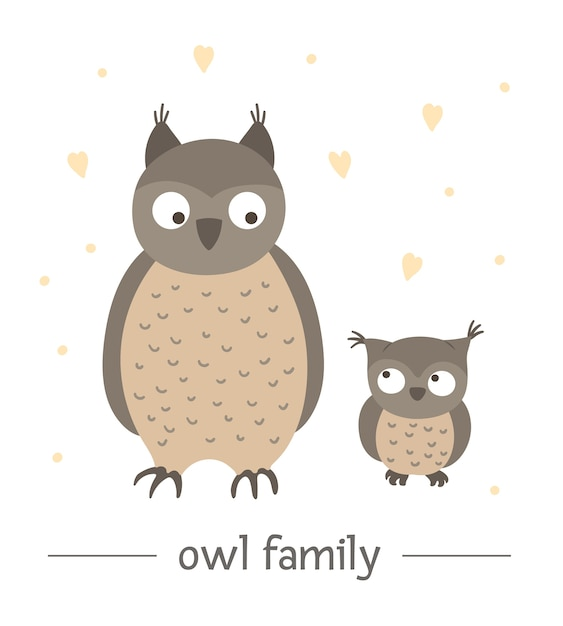 Hand drawn flat baby owl with parent. Premium Vector