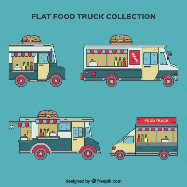 Hand drawn flat food truck collection