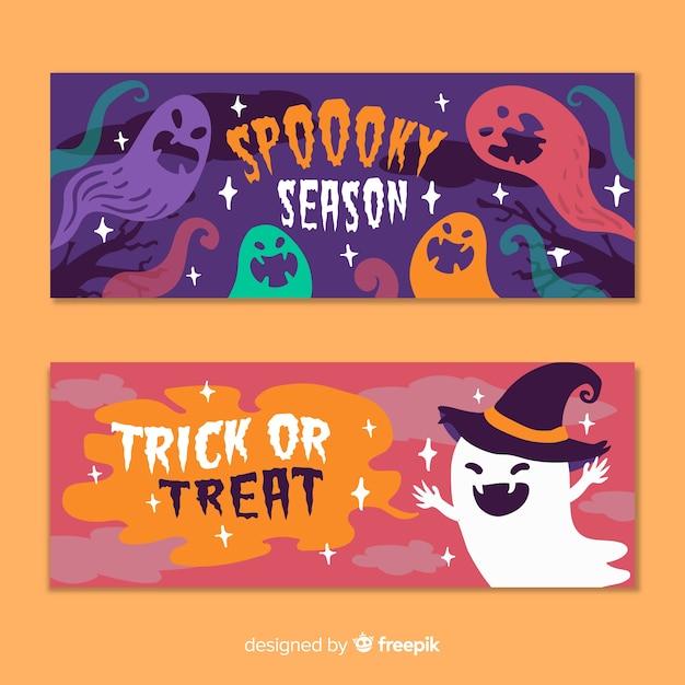 Hand drawn flat halloween banners spooky season Free Vector