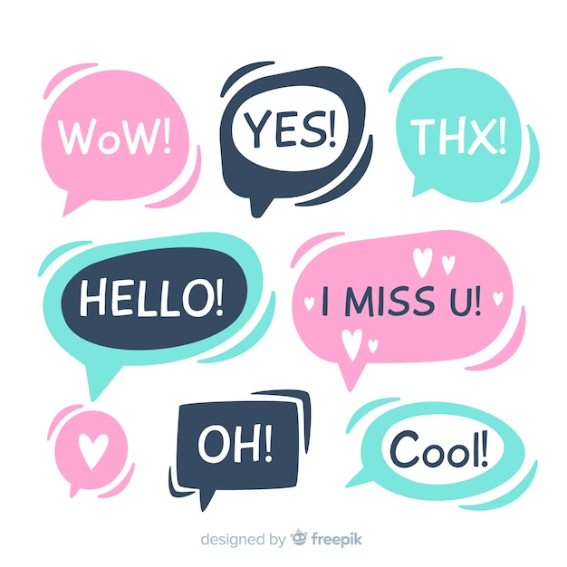 Hand drawn flat speech bubbles with different expressions Free Vector