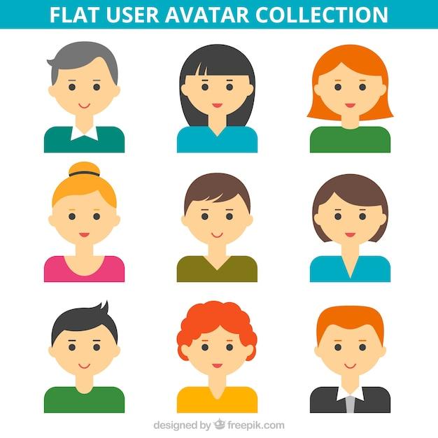 Hand drawn flat user avatar collection Premium Vector